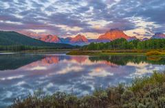 Beautiful sunrise in the mountains Stock Photos