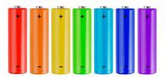Rainbow batteries Stock Photos