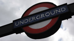 Close Up Traditional Underground Station Logo Sign London Transportation Systems Stock Footage
