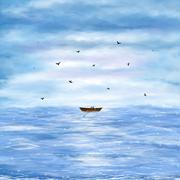 illustration of a lonely boat - stock illustration