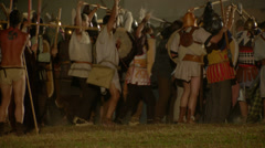 Roman celt attack night 04 Stock Footage