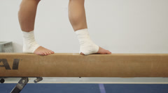 Gymnast On Beam 4 Stock Footage