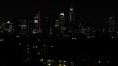 Illuminated Night Aerial View London Skyline Skyscrapers Financial District - stock footage