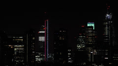 Stock Video Footage of Illuminated Panoramic Aerial View London City Skyline High Rise Night