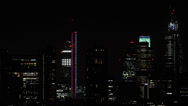 Illuminated Panoramic Aerial View London City Skyline High Rise Night Stock Footage