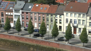 Stock Video Footage of Riverside housing on the Dijle, Mechelen, Flanders, Belgium.
