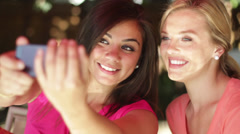 Young Women Taking Selfies Stock Footage