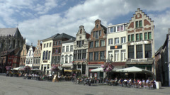 Cafes and restaurants in Mechelen, Flanders, Belgium. Stock Footage