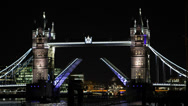 London Symbol Tower Bridge open Up Lifted Shard Skyscraper UK Sailboat Passing Stock Footage
