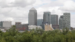 London Canary Wharf Famous Skyscrapers One Canada Square Financial District UK Stock Footage