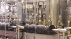 Wine bottles about to be filled at the plant. Stock Footage