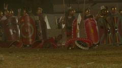 Roman celt attack night 09 Stock Footage