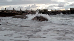 816 tides coming in the rocky shore Stock Footage