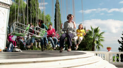 EDITORIAL People on the spinning carousel in Tibidabo park in Barcelona HD Stock Footage