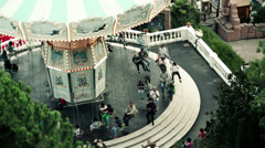 EDITORIAL People on the spinning carousel in Tibidabo park HD Stock Footage