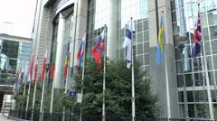 European Parliament Paul-Henri Spaak Building, Brussels, Belgium. Stock Footage