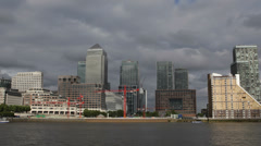 Canary Wharf Skyline Thames River London One Canada Square Busy Urban Scene City Stock Footage