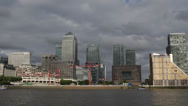 Stock Video Footage of Canary Wharf Skyline Thames River London One Canada Square Busy Urban Scene City