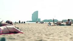EDITORIAL People on barceloneta beach in Barcelona HD Stock Footage