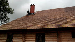 855 roofers fixing the cedar wooden shingle roof - stock footage
