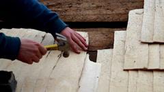 882 arranging cedar wooden shingle shake wood planks before nailing it - stock footage