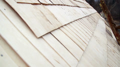 Cedar wooden shingle shake roof of the cabin log neatly done Stock Footage
