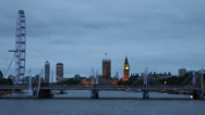 Stock Video Footage of London Eye Golden Jubilee Walkways Big Ben Evening London United Kingdom Dusk