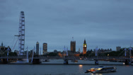 Stock Video Footage of London Skyline Twilight Ferris Wheel Eye County Hall Hungerford Bridge Big Ben