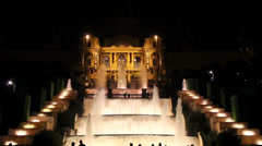 915 several fountains in line spain barcelona Stock Footage