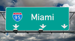 Miami - Interstate 95 Sign Time Lapse Stock Footage