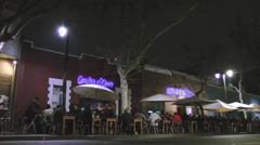Cafe at night in Santiago, Chile Stock Footage