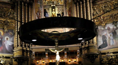 Crucifix at the center of the altar Stock Footage
