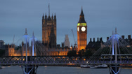 Stock Video Footage of Parliament Building London Skyline Underground Subway Metro Train Passing Night