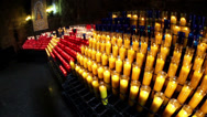 Several lighted candles on the church Stock Footage