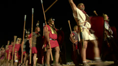 Roman legion march night 03 Stock Footage