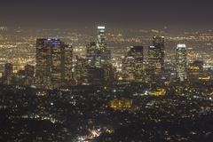 hazy los angeles night - stock photo