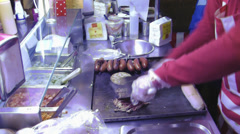 Close-up shot of a hotdog stall Stock Footage