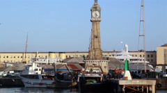 Clock tower near the port Stock Footage
