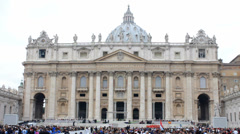 Crowd in Saint Peters Square Waiting for Pope - stock footage