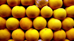 Big peaches are piled lots of peaches on display Stock Footage