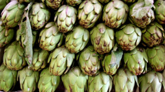 Closer image of the eco artichokes and some leaf Stock Footage
