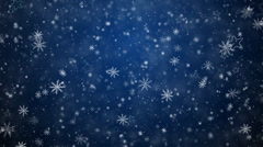 Winter Christmas background, falling snowflakes and stars Stock Footage