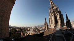 Convex view of a church and nearby buildings lisbon portugal Stock Footage