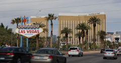 Ultra HD 4K Welcome Fabulous Las Vegas Sign Strip Mandalay Bay Hotel Rush Hour Stock Footage