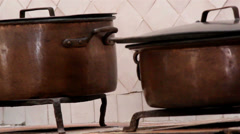 A group of cooking pots set of brown pot Stock Footage