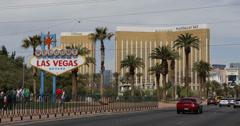 Ultra HD 4K Welcome to Fabulous Las Vegas Sign Strip Mandalay Bay Casino Tourist Stock Footage