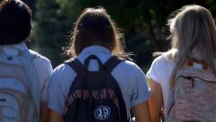 Three Teenage Girls Talking & Walking (Away) In School Uniforms Stock Footage