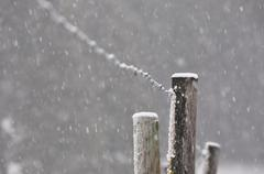 Snowing on the Fence Post - stock photo