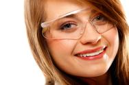 Stock Photo of portrait female chemist using glasses isolated