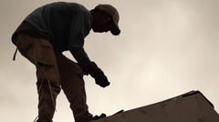 Concrete Roof Tile Worker Stock Footage